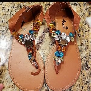 Anna bejeweled sandals, size 8
